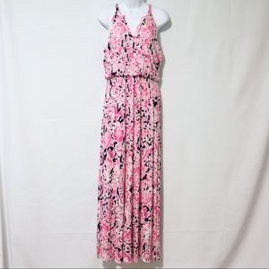 Cynthia Rowley summer maxi dress pink blue medium